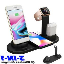 3-IN-1 10W Qi Wireless Fast Charger Dock Station Holder For