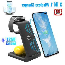 3 in 1 Qi Charging Dock Charger Stand For Galaxy Watch iPhon