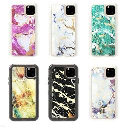 For Apple iPhone 11/11 Pro Max Marble Defender Case with Bel