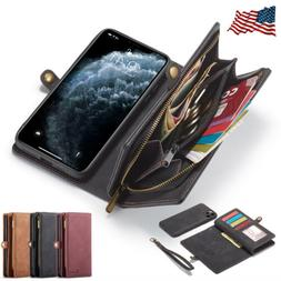 For Apple iPhone 11 Pro Max Detachable Magnetic Leather Zipp