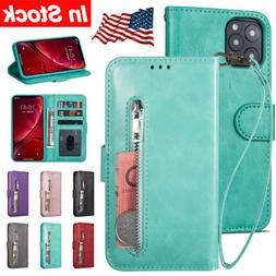 For Apple iPhone 11 Pro Max Case Zipper Leather Wallet Flip