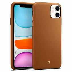 Basic Smooth Leather Design Saddle Brown iPhone 11 Case Soft