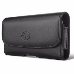BLACK LEATHER PHONE CASE SIDE COVER POUCH BELT HOLSTER CLIP