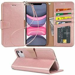 Case for iPhone 11 PU Leather Wallet Case Cover Stand Featur
