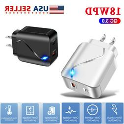 Cell Phone 18W PD Fast Charger Wall Plug Travel USB Port Pow