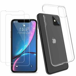 Clear Gel Case with Tempered Glass Screen Protector for iPho