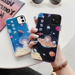 Cute Cartoon Space Travel Girl  Phone Case Cover For Apple i