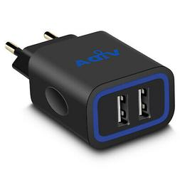 Fast 2.4A Slim Design 2-Port USB Wall Charger with European