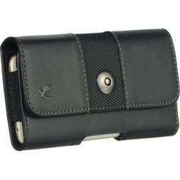 Horizontal Leather Cell Phone Pouch Case Belt Clip Holster F