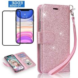 For iPhone 11 Pro MAX, 11 Magnetic Wallet Case Cover & Tempe