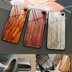 For iPhone 11 Pro Max 8 Plus 7 6s Book Wooden Tempered Glass