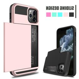 For iPhone 11 Pro Max Shockproof Case Cover With Wallet Cred