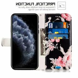 iPhone 11 Pro Max Wallet Case Floral PU Leather Card Stand F