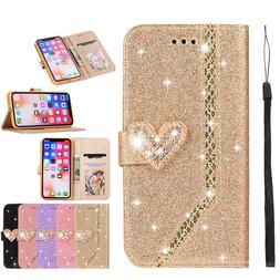 For iPhone 11 Pro Max XR XS Max 7 8 Plus Glitter Wallet Case
