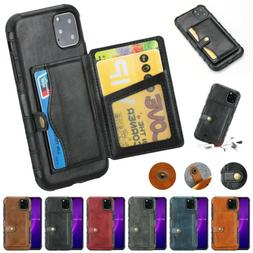 For iPhone 11 Pro Max XR XS 8 Plus PU Leather Back Wallet Ca