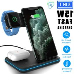 For iPhone 11 Pro Max XS Max 3 In 1 Wireless Charger Chargin