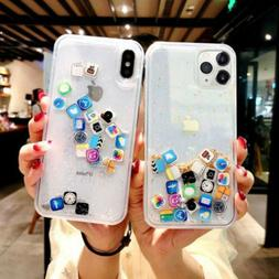 For iPhone 11 Pro MAX XS XR X 8 7+ App Icon Moving Glitter Q