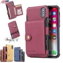 For iPhone 11 Pro XS MAX/ XR X 6 7 8 Plus Wallet Leather Cas