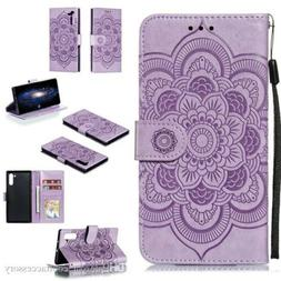 For iPhone 11 Purple Leather Case Wallet Embossing Mandala F