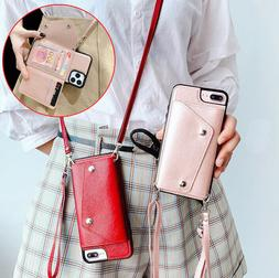 For iPhone 11 Women's Crossbody Card Holder PU Leather Walle