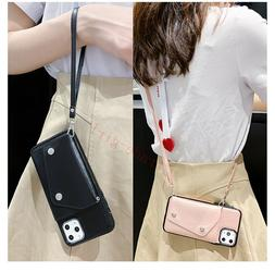 For iPhone 11 Women's Crossbody Wallet Card Holder PU Leathe