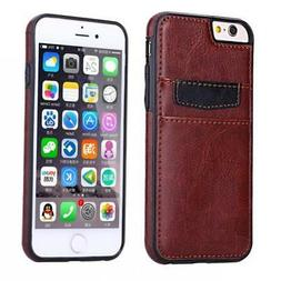 IPHONE 6 6S - BROWN LEATHER CASE LUXURY WALLET COVER w TWO C