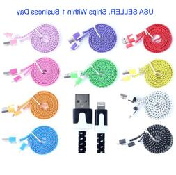 For iPhone 11, Xs, X, 8, 7, 6, &5 Braided Charger 8-pin USB