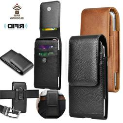 For iPhone Samsung Cell Phone Holster Pouch Leather Wallet C