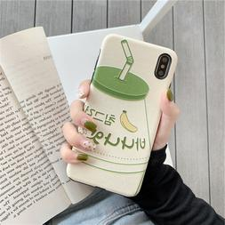 Milk Banana Green Japanese Soft Case Cover for iPhone 7 8 Pl