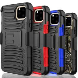 For iPhone 11 / Pro Max Case, Belt Clip Cover + Tempered Gla