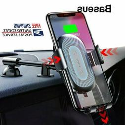 Baseus Qi Wireless Charger Car Phone Holder Stand for iPhone