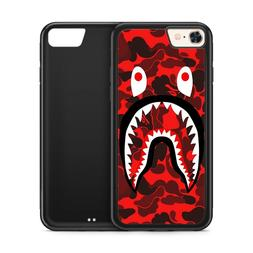 Red Shark Camouflage Bape Black Rubber Phone Case for iPhone