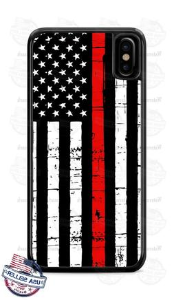 Red Thin Line of Courage Firefighter Phone Case For iPhone i