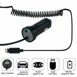 USB Fast Quick CAR Charger Adapter w/ Extra USB Cable for iP