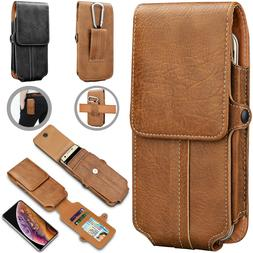 Vertical Leather Cell Phone Pouch Card Holder Case With Belt