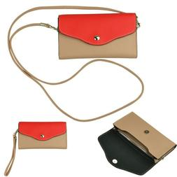 Women Leather Crossbody Bag Phone Purse Wristlet Clutch For